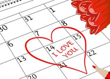 Valentinstag-ich liebe dich Kalender-Seite mit Herz-Blumen und Bleistift stockbild
