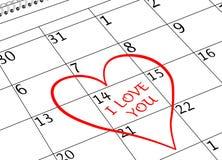 Valentinstag-ich liebe dich Kalender-Seite mit Herzen stockfotografie