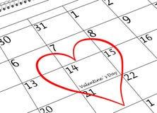 Valentinstag-ich liebe dich Kalender-Seite mit Herzen stockbilder