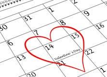 Valentinstag-ich liebe dich Kalender-Seite mit Herzen lizenzfreie stockbilder