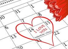 Valentinstag-ich liebe dich Kalender-Seite mit Herzen und Blumen lizenzfreies stockfoto