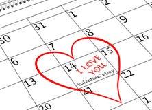 Valentinstag-ich liebe dich Kalender-Seite mit Herzen und Schreiben lizenzfreies stockbild