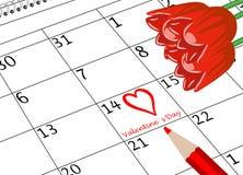 Valentinstag-Kalender-Seite mit Herz-Blumen und Stift stockbild