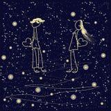 Valentinstag, Liebesgeständnis Gelb umreißt Kerl, die Mädchen und hält das Herz auf tiefem blauem sternenklarem Himmelhintergrund Stockbilder