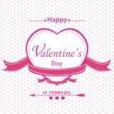Valentinstag mit dem vollen rosa Herzen lokalisiert auf weißem Hintergrund Stockfotografie