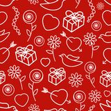 Valentinstag-nahtloses Muster Lizenzfreies Stockbild