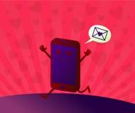 Valentinstag-nette Smartphone-Zeichentrickfilm-Figur Stockbilder