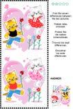 Valentinstag oder Liebe finden das Unterschiedbildpuzzlespiel Stockfoto