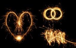 Valentinstag simbols gemacht vom Feuer. Lizenzfreie Stockfotos