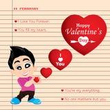 Valentinstag und Freund-Liebe bekennen auf Anmerkungshintergrund Vektor-Valentinstaghintergrund lizenzfreie abbildung