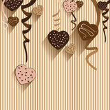 Valentinstag- und Herzschokolade auf buntem Hintergrund Vector Parteischokolade und volles Herz auf buntem Hintergrund Lizenzfreies Stockbild