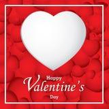 Valentinstag- und Weißherz auf rotem Herzhintergrund Vektor-Valentinstag Lizenzfreies Stockfoto