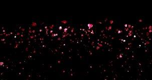 Valentinstag, Wasserfall von roten Herzen formen auf schwarzen Hintergrund, Valentinstag-Liebeskonzept des Feiertags festliches m vektor abbildung