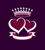 Valentinstagbegriffsillustration, zwei liebevolle Herzen Stockbild