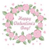 Valentinstagblumenring-Vektorillustration Lizenzfreie Stockfotos
