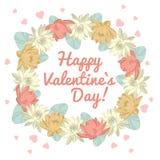 Valentinstagblumenring-Vektorillustration Lizenzfreies Stockbild