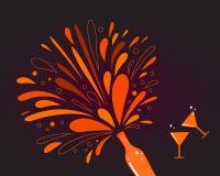 Valentinstagfeier: Rotwein mit Spritzen Lizenzfreie Stockbilder