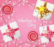 Valentinstaggeschenkbox- und -lichtgirlande Vektor realistisch Feiern Sie Liebeskarte r stock abbildung