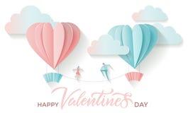 Valentinstaggru?karte mit dem Beschriften des gl?cklichen Valentinsgru?tages des Textes und geschnittene Herzformpapierballone mi stock abbildung