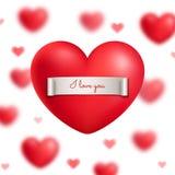 Valentinstaggrußkarte mit rotem realistischem Herzen Stockfotos