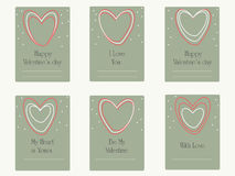 Valentinstaggrußkarten mit Herzen Lizenzfreie Stockbilder