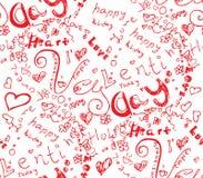 Valentinstagherz vom Symbolgekritzel nahtlos Stockfotografie