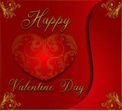 Valentinstaghintergrund in den Blumenverzierungs-Art wiyh Rot- und Goldfarben lizenzfreie stockfotografie