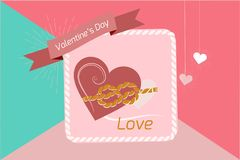 Valentinstaghintergrund Herz, zusammengepaßt mit einem Seil von Bindungen, Vektorbilder Tapete, Flieger, Einladung, Plakat, Brosc lizenzfreie abbildung