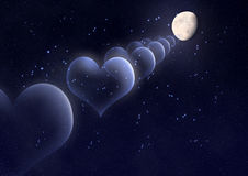 Valentinstaghintergrund mit Herzen, Mond und Sternen Lizenzfreies Stockbild
