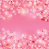 Valentinstaghintergrund mit Herzen und Lichtern Stockbild