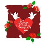 Valentinstagillustration mit den heftigen Tauben, die Herzen und Hintergrund mit stilisierten Rosen und Blättern tragen lizenzfreie abbildung