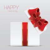 Valentinstagillustration mit Geschenkbox- und Herzsymbol Stockbild