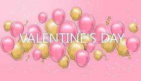 Valentinstagkarte mit Ballone Vektor realistisch Rosa und gelbe frohe bunte Postkarten lizenzfreie abbildung