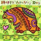 Valentinstagkarte mit dem unglaublichen Tier lizenzfreie abbildung