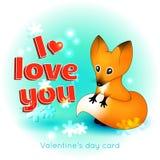 Valentinstagkarte mit einem Fuchs stock abbildung