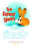 Valentinstagkarte mit einem Fuchs vektor abbildung