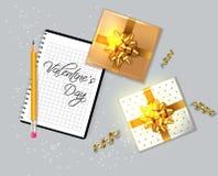 Valentinstagkarte mit Geschenkboxen Vektor realistisch Notesbook-Text Feiern Sie Liebeskarte r lizenzfreie abbildung