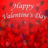 Valentinstagkarte mit Herzen auf einem roten Hintergrund Stockfotografie