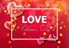 Valentinstagkarte mit Herzen Vektor realistisch Weiches bokeh bewirken romantische Kartenschablonen vektor abbildung