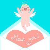 Valentinstagkarte mit netten Amoren und Herzen Stockbild