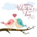 Valentinstagkarte mit netten Vögeln in der Liebe vektor abbildung