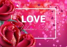 Valentinstagkarte mit rote Rosen Vektor realistisch Weiches bokeh bewirken romantische Kartenschablonen lizenzfreie abbildung