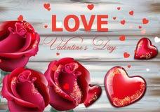 Valentinstagkarte mit roten Rosen und Herzen Vektor realistisch Weiches bokeh bewirken romantische Kartenschablonen stock abbildung