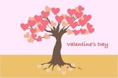 Valentinstagkarte und -fahne mit dem Baum der Liebe lizenzfreie stockfotografie