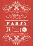 Valentinstagkarten-Parteieinladung mit Weinleserahmen auf rotem Bretthintergrund Stockfoto