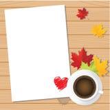 Valentinstagliebespapier mit Kaffeetasse- und Ahornhintergrund Stockbild