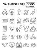 Valentinstaglinie Ikonensatz, Romanze Symbole Sammlung, Vektorskizzen, Logoillustrationen, Liebeszeichen linear stock abbildung