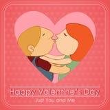 Valentinstagpaare, die im rosa Herzen küssen Stockbild
