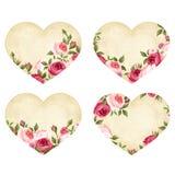 Valentinstagpergamentherzen mit Rosen Vektor EPS-10 Stockbilder