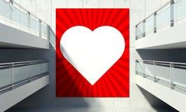 Valentinstagplakat auf Wand im Speicherinnenraum Stockfoto